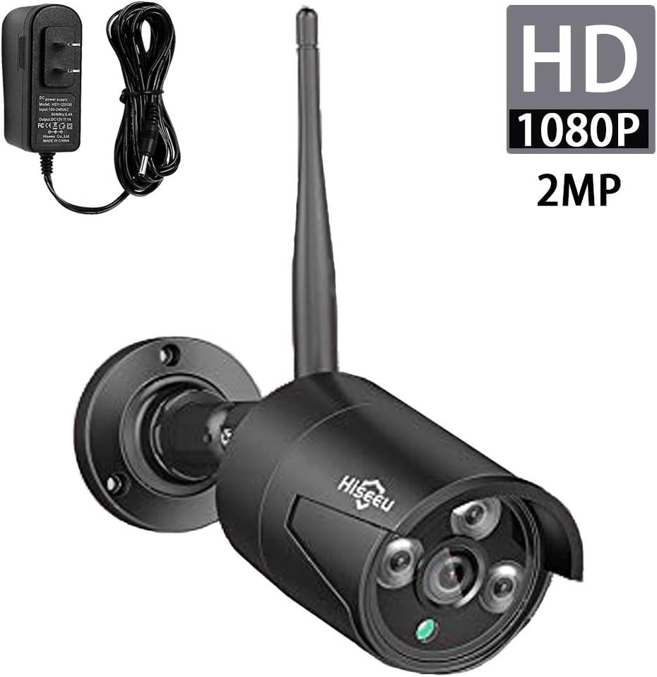 Hiseeu 2MP 1080P Security Camera,Waterproof Outdoor Indoor 3.6mm Lens IP Cut Day Night Vision with Power Adapter Compatible with Hiseeu 8ch Camera System Black