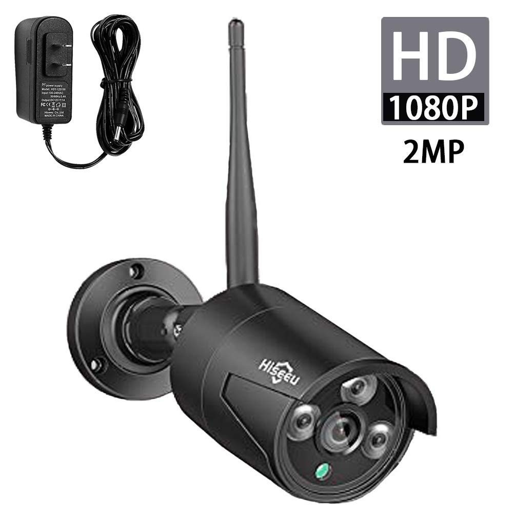 Hiseeu 2MP 1080P Security Camera,Waterproof Outdoor Indoor 3.6mm Lens IP Cut Day&Night Vision with Power Adapter Compatible with Hiseeu 8ch Camera System(Black) by Hiseeu