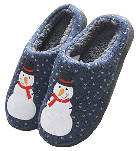Hw-goods Mens E Womens Snowman Stampa Paio Pantofole Inverno Casa Scarpe Blu