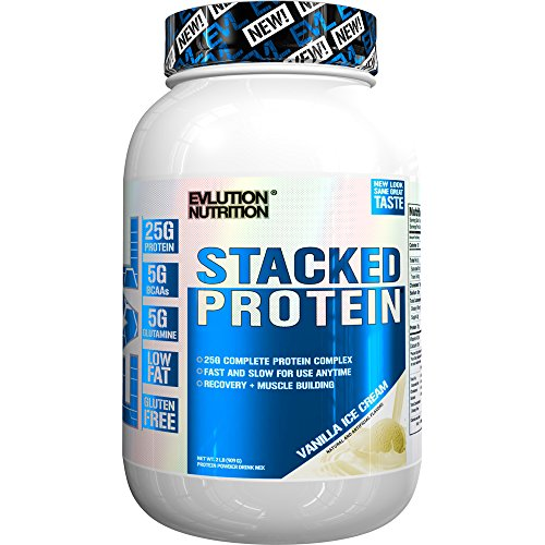 Evlution Nutrition Stacked Protein Protein Powder With 25 Grams of Protein, 5 Grams of BCAA's and 5 Grams of Glutamine (Stacked Protein 2 LB, Vanilla Ice Cream) (Bcaa Powder Stack)