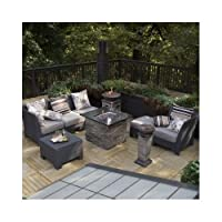 Patio Furniture Sectional Wicker All-weather Conversation Set. Multiple Configurations with the Convertible Fire Pit Table Centerpiece. The Optional Fire Pit Column or Firepit Bowl Can Provide Additional Warmth on Your Deck, Patio or Backyard. from Coral