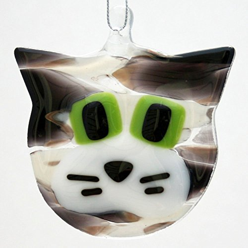 - Grey, Black and White Tabby Cat - Fused Glass Ornament