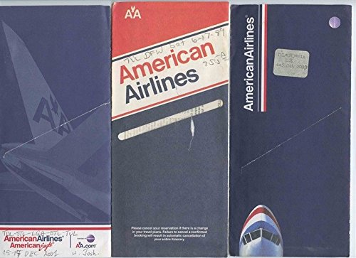 9 Different American Airlines Ticket Jackets & Contents 1970