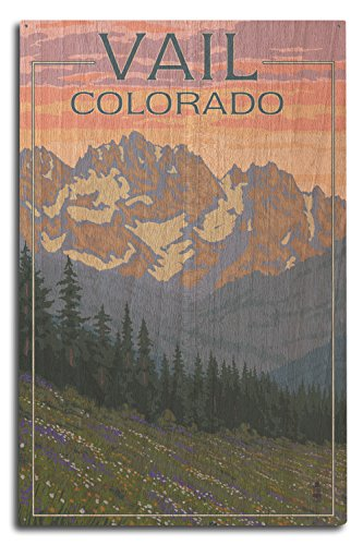 Lantern Press Vail, Colorado - Bears and Spring Flowers (10x15 Wood Wall Sign, Wall Decor Ready to Hang)