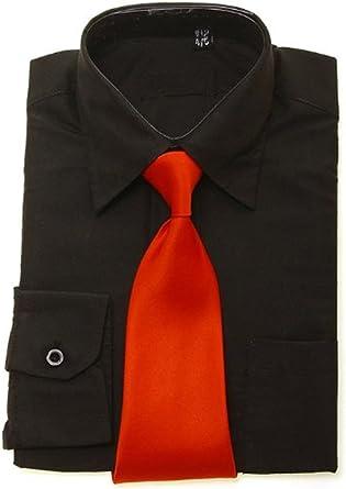 Boys Negro Camisa Rojo corbata: Amazon.es: Ropa y accesorios