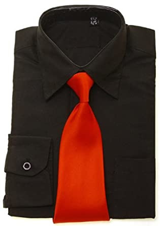 10765794bcb7 Boys black shirt red tie - size 13-14 Years: Amazon.co.uk: Clothing