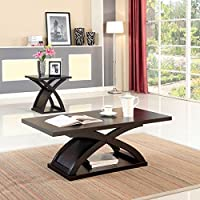 Furniture of America Barkley Modern Coated Espresso Finish X-Shaped Base Coffee Table