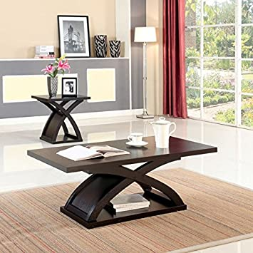 Furniture Of America Barkley Modern Coated Espresso Finish X Shaped Base Coffee  Table