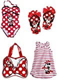 Disney Store Girls Size 5 6 Minnie Mouse Swim Set Swimsuit Flip Flops Cover Up Bag