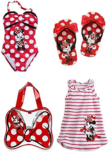Disney Store Girls Size 5 6 Minnie Mouse Swim Set Swimsuit Flip Flops Cover Up Bag by Minnie Mouse