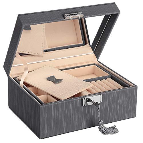 SONGMICS 2-Layer Box, Lockable Jewelry Organizer, Foldable Tray, Removable Divider, Gray UJBC232GY (Jewlary Box)