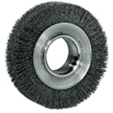 Weiler Steel Wheel Brush - 0.014 in Bristle Dia Arbor Attachment - 4 1/2 in OD & 6000 Max RPM - 2 in Center Hole Size - 03020 [PRICE is per WHEEL]