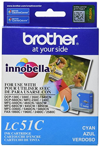 Fax2480c Inkjet Printers - Brother LC51C Cyan Ink Cartridge - Retail Packaging