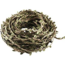 Artificial Vine Leaves HUAESIN 4 Roll 22 Yard Artificial Greenery Hanging Vines Garlands Realistic Burlap Leaf Ribbon Silk Ivy Vine for Wedding Crafts Accessories Birthady Christmas Banner Party