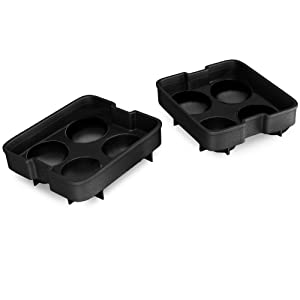 Double Ice Ball Maker Mold - Makes 8 Whiskey Ice Balls - Durable Silicone Sphere Ice Tray