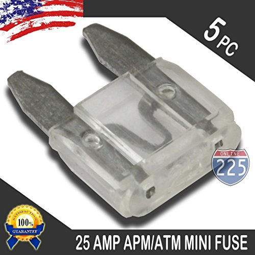 - 5 Pack 25 AMP APM/ATM 32V Mini Blade Style Fuses 25A Short Circuit Protection Car Fuse