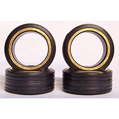 Hoppin Hydros 4 Low Pros Profile Tires with Goldwalls (for Hobby Model Kits) 1/24 1/25 Scale: Toys & Games