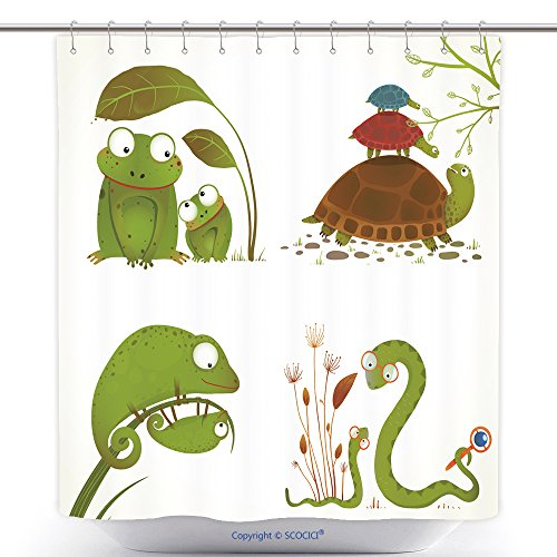 Baby Frog Costume Pottery Barn (Stylish Shower Curtains Cartoon Reptile Animals Parent With Baby Collection Brightly Colored Childish Frogs Turtles Snakes 236010472 Polyester Bathroom Shower Curtain Set With Hooks)
