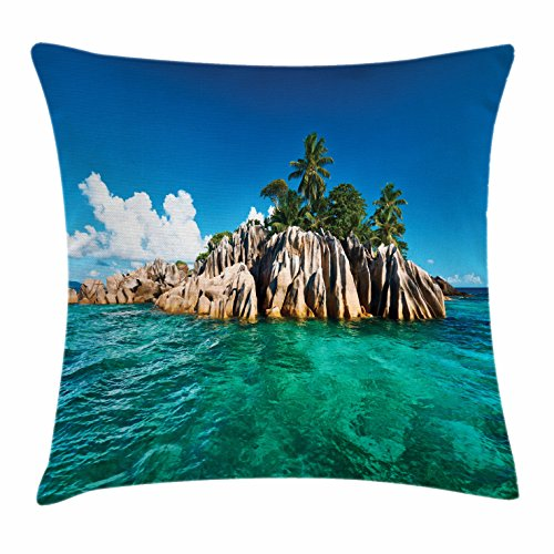 St Pierre Islands (Island Throw Pillow Cushion Cover by Lunarable, St. Pierre Island at Seychelles Natural Granite Relaxation Mediterranean, Decorative Square Accent Pillow Case, 36 X 36 Inches, Jade Green Blue Tan)