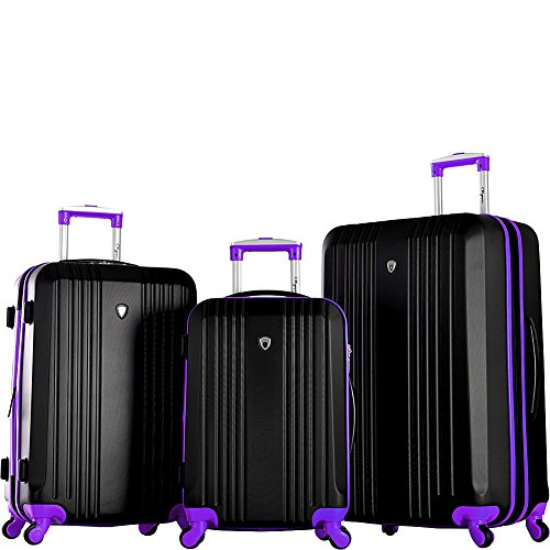 Olympia Apache 3pc Hardcase Spinner Luggage Set, Black/Purple by Olympia