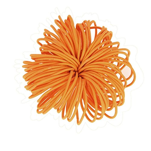 - DZT1968 100pcs Women girl Elastic Hair TiesRopes Ring Ponytail Holder Accessories (orange)