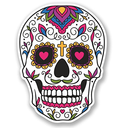 2 x 15cm/150mm Sugar Skull WINDOW CLING STICKER Car Van Campervan Glass #5513