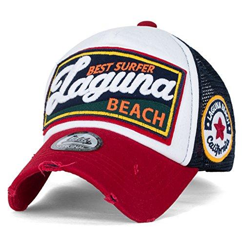 - ililily Laguna Beach Vintage Distressed Trucker Hat Snapback Baseball Cap (Medium, Prussian Blue)