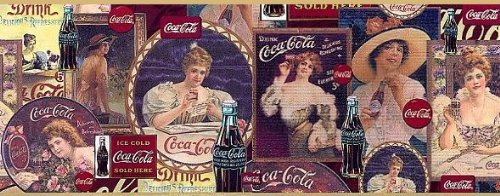 Coca-Cola Decorative Wall Border with Gold Trim Vintage Design, 15 feet from 1998 by Restore & Restore American Spirit