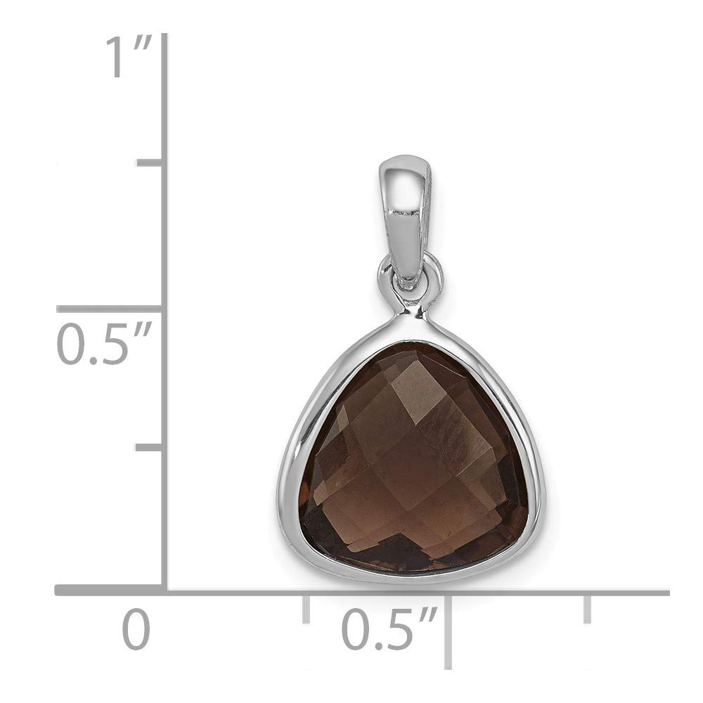 13mm Height x 11mm Width Solid 925 Sterling Silver Brown Simulated Smokey Quartz Pendant