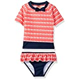Tommy Bahama Little Girls' Palm Tree Rash Guard Two Piece Set, Coral, 5