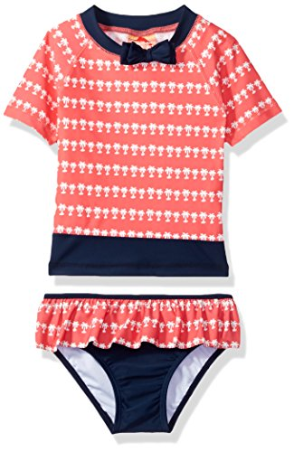Price comparison product image Tommy Bahama Toddler Girls' Palm Tree Rash Guard Two Piece Set, Coral, 4T