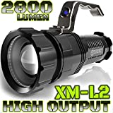 ALPHA TEK ATK280 2,800 Lumen CREE  XM-L2 T6 LED Rechargeable Spotlight, 6.5-Inch, Black (No Battery)
