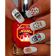 Sugar Skull Nail Art Decals (Tattoo). Set of 63 Clear Waterslide Nail Decals. Dia de los Muertos. SS001-63 by One Stop Nails