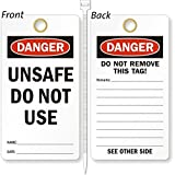 Unsafe Do Not Use, Heavy Duty 15 mil thick Vinyl Tag, 25 Tags / Pack, 3.25'' x 6''