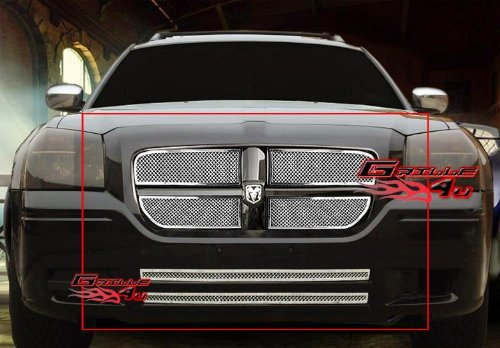 Dodge Magnum Chrome Accessories (APS Fits 05-07 Dodge Magnum Stainless Steel Mesh Grille Combo #D77982T)