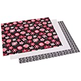 Dritz Babyville 21 by 24-Inch PUL Waterproof Diaper Fabric Cuts, Black Chevron/Pink Floral, 3-Pack