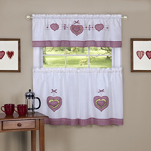 - Achim Home Furnishings Gingham Hearts Embellished Tier and Valance Window Curtain Set, 56