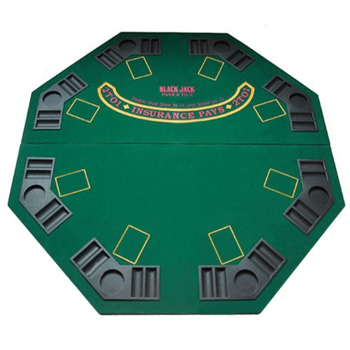 48 Green Octagon Folding Poker And Blackjack Table Top