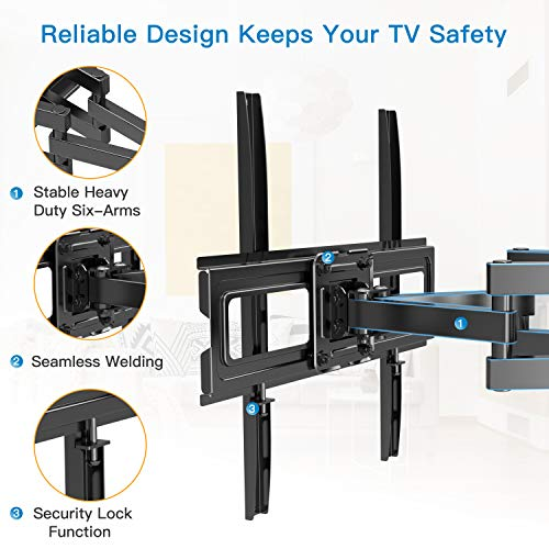 Full Motion TV Wall Mount Bracket Dual Articulating Arms Swivel Extension Tilt Rotation for Most 26-55 Inch LED, LCD, OLED Flat Curved TVs, Max VESA 400x400mm and Holds up to 99lbs by Pipishell