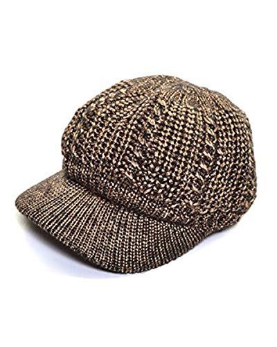 an Womens Beanie Cap Knit Bronze Metallic Lurex Thread Cozy Plush Lined Hat - Lurex Metallic Thread