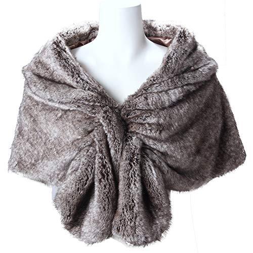 Caracilia Elegant Bridal Wedding Faux Fur Shawl Stole Wrap Shrug CA95 , Rabbit Fur Grey , Large by Caracilia (Image #2)