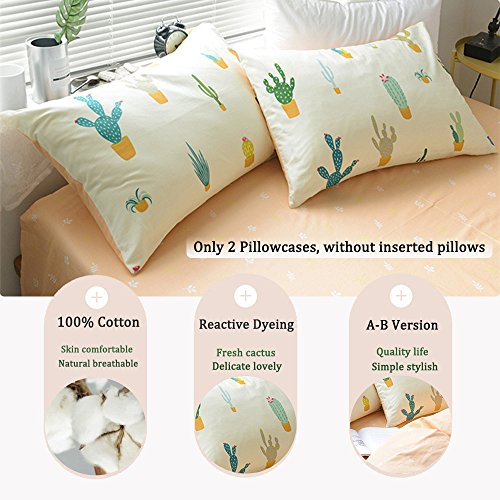 FenDie Cactus Girls Pillow Cases Standard  Size, Soft Cotton