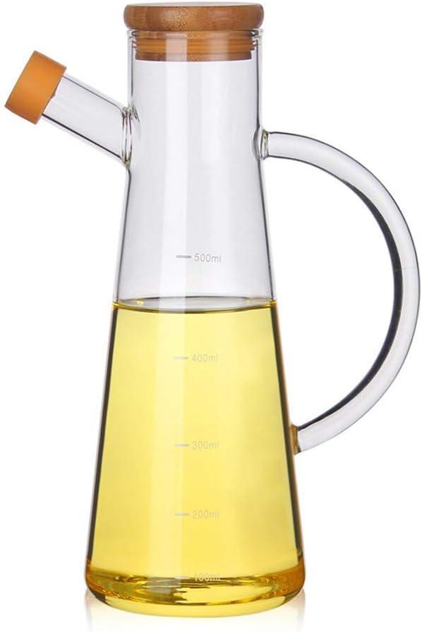 Unknow 500ml Vidrio borosilicato Aceite de Oliva Vinagre Pot Tanque dispensador a Prueba de Fugas condimento Botella con asa y la Tapa de la Botella de Aceite de Cocina artículos de Uso doméstico