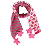 TAORE Children Girls and Boys Christmas Classical Five Pointed Star Knit Scarf (Hot Pink)