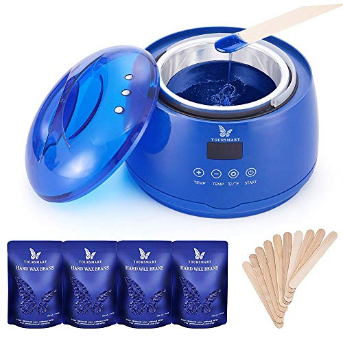 YOURSMART Wax Warmer Hair Removal Waxing Kit for Women and Man Eyebrow, Face, Facial, Leg, Armpit, Bikini, Brazilian - Include 400g Hard Wax Beans & 20pcs Applicator Stick (Touch Screen) - Leg Warmers Kit