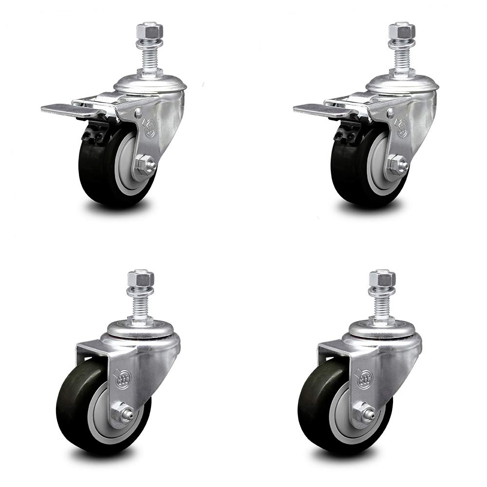 Polyurethane Swivel Threaded Stem Caster Set of 4 w/3