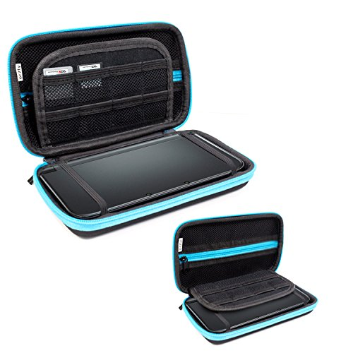 3Dsxl Case  Orzly Carry Case For New 3Ds Xl Or Original Nintendo 3Ds Xl   Protective Hard Shell Portable Travel Case Pouch For 3Ds Xl Consoles With Slots For Games   Zip Pocket   Blue On Black
