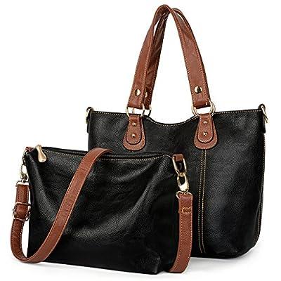UTO Women Shoulder Bag 2 Piece Tote Bag PU Leather Handbag Purse Bags Set