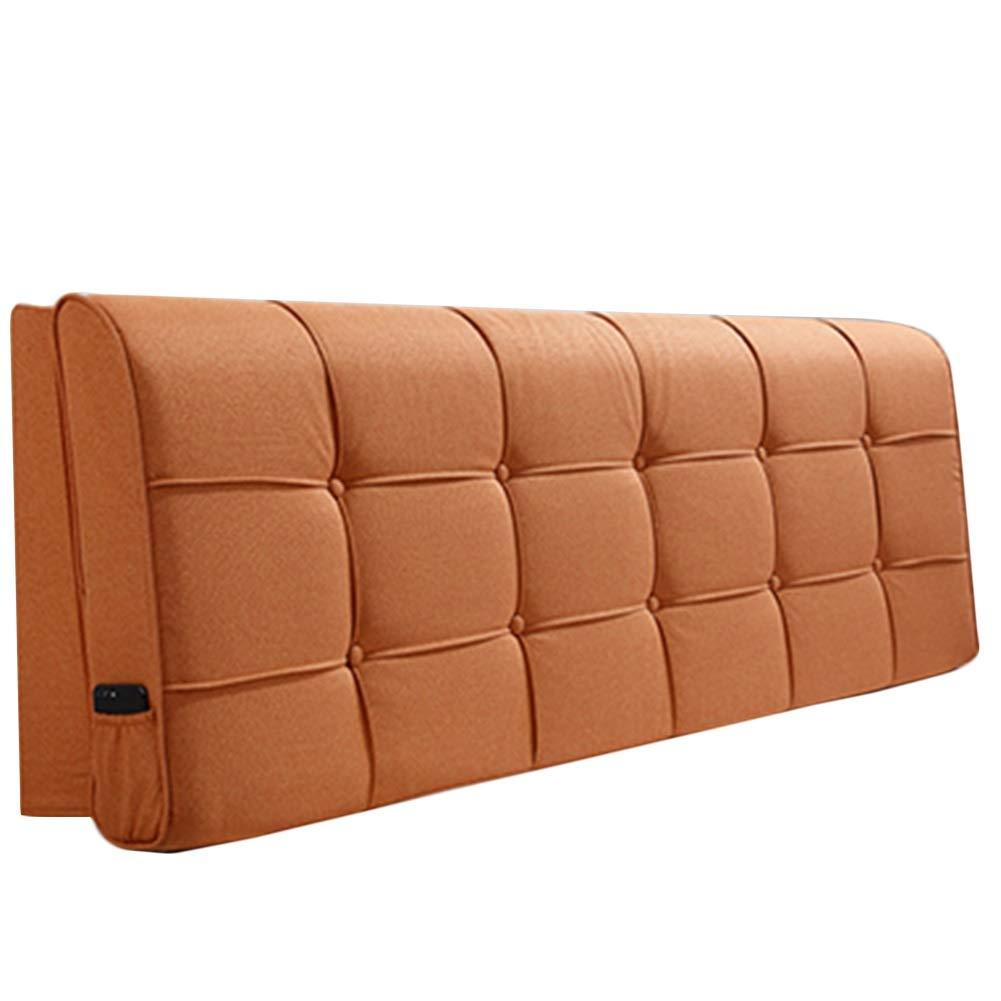 LIQICAI クッション ベッドの背もたれ ヘッドボード ベッドサイドクッション ベッドウェッジ背もたれ ウエストパッド ソフトケース ソリッドカラー、 5色、 8サイズ (色 : オレンジ, サイズ さいず : 150x58x10cm) B07R9NZ94N オレンジ 150x58x10cm