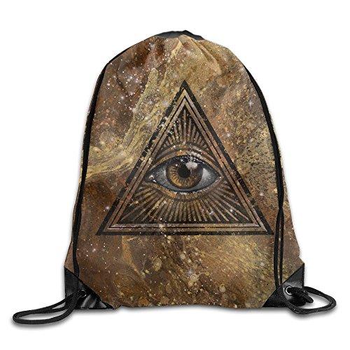 All Seeing Eye Beam Drawstring Travelling Bundle Pocket Canvas Storage Gym Bag Ball Backpack